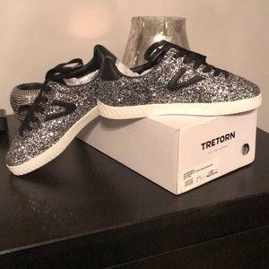 Tretorns Silver glitter/black leather